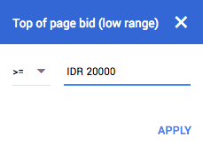 Filter Top of Page Bid Keyword Results Page