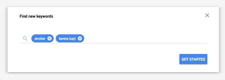 Google Keyword Planner stroller kereta bayi