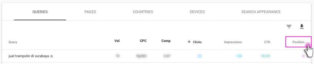 Posisi Google Webmaster Tools