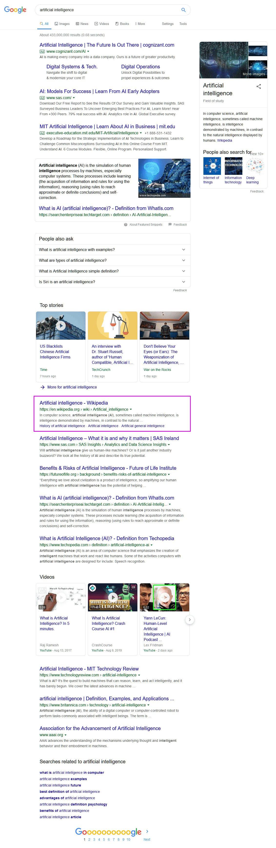 contoh serp pencarian organik google