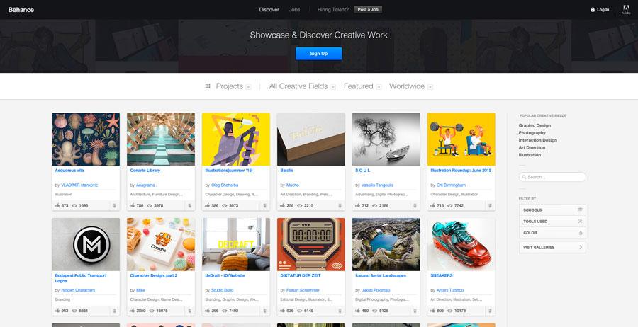 Web portfolio Behance for photography marketing