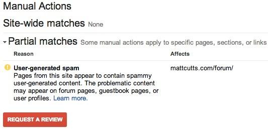 contoh penalti pada Google Webmaster Tool sehingga website tidak muncul di Google