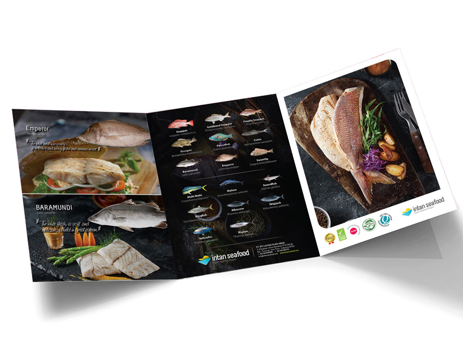 brochure design intan seafood/FruityLOGIC Design